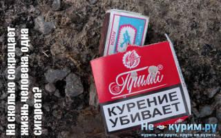 Одна сигарета сокращает жизнь на